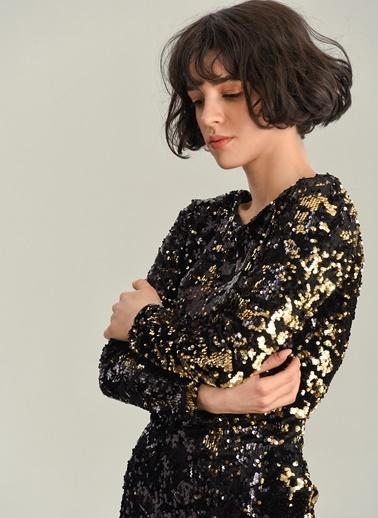 Agenda Payetli Mini Elbise Altın